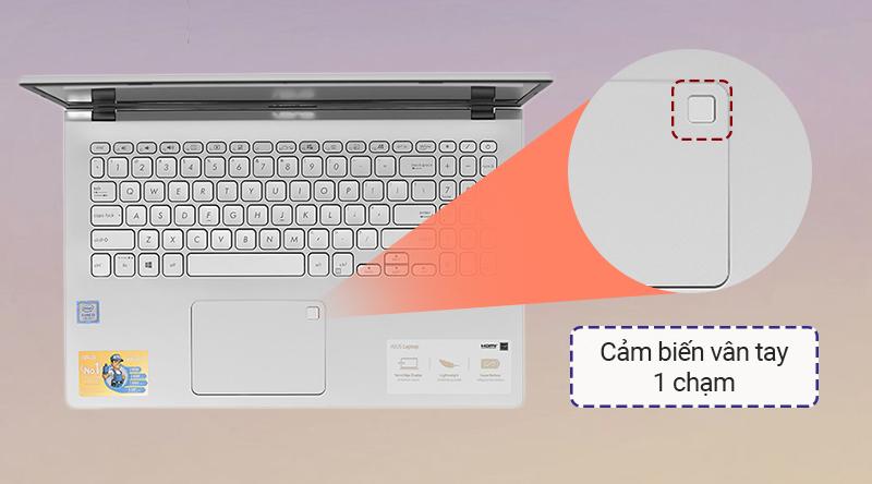 ASUS VivoBook X509U  tích hợp một cảm biến vân tay trên touchpad