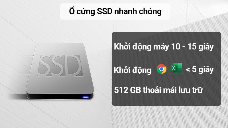 Laptop Asus F571GD được trang bị ổ cứng SSD 512 GB