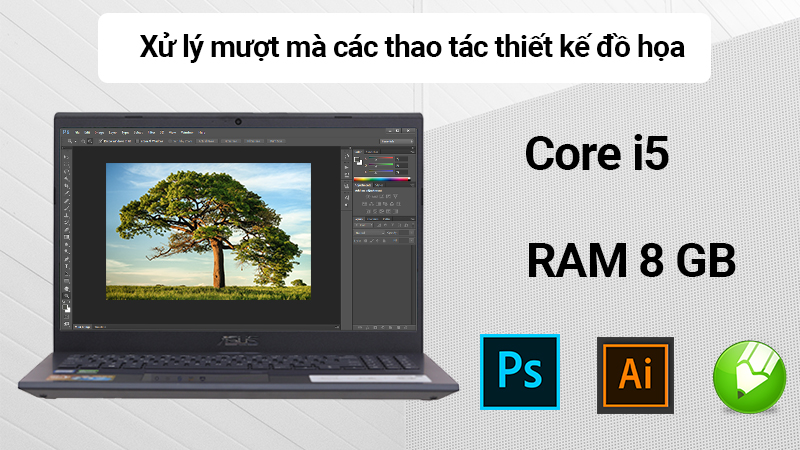 Laptop Asus F571GD được trang bị chip Core i5 thế hệ 8, RAM 8 GB