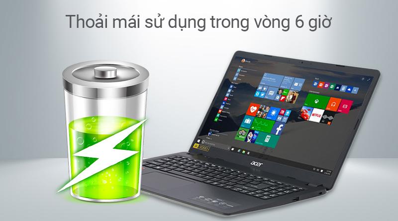 Laptop Acer Aspire 3 có thể sử dụng đến 6 giờ sử dụng liên tục
