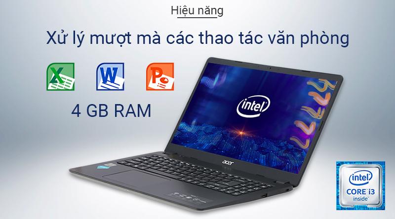 Laptop Acer Aspire A315 sở hữu bộ vi xử lý Intel Core i3