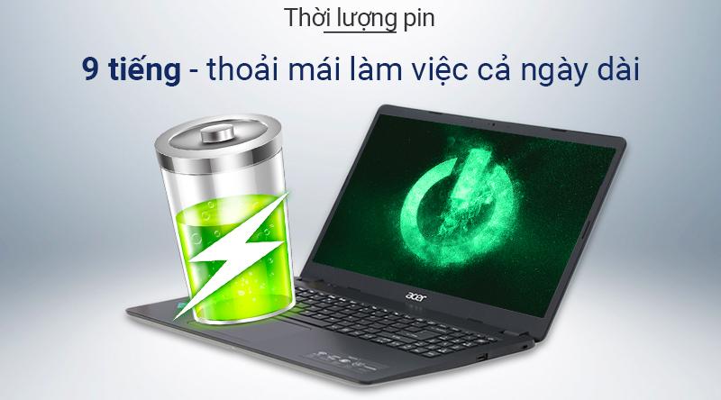 Laptop Acer Aspire A315  có thời lượng pin khoảng 9 tiếng