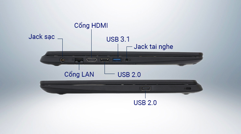 Laptop Acer Aspire A315  được trang bị đầy đủ các cổng kết nối