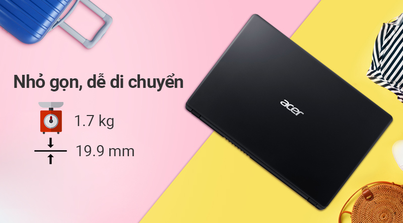 Laptop Acer Aspire A315 54K 36QU gọn nhẹ, dễ mang theo