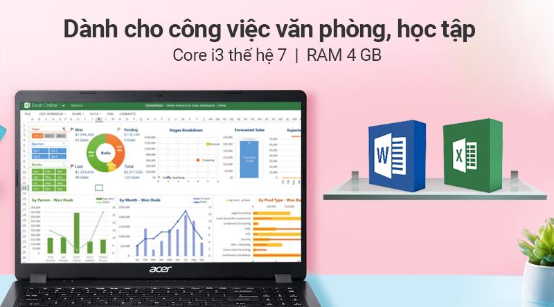 Laptop Acer Aspire A315 54K 36QU đáp ứng nhu cầu văn phòng