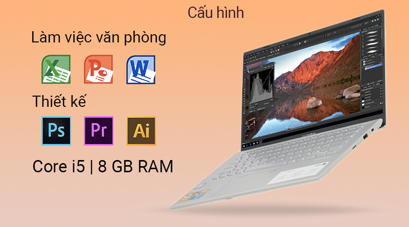Laptop Asus VivoBook A412FA đáp ứng được nhu cầu văn phòng và đồ họa kĩ thuật.
