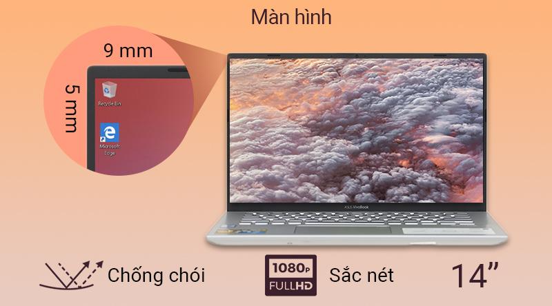 Laptop Asus VivoBook A412FA thể hiện mọi nội dung sắc nét, màu sắc tươi sáng.
