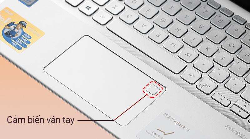 Laptop Asus VivoBook A412FA  được trang bị hệ thống bảo mật vân tay thông minh