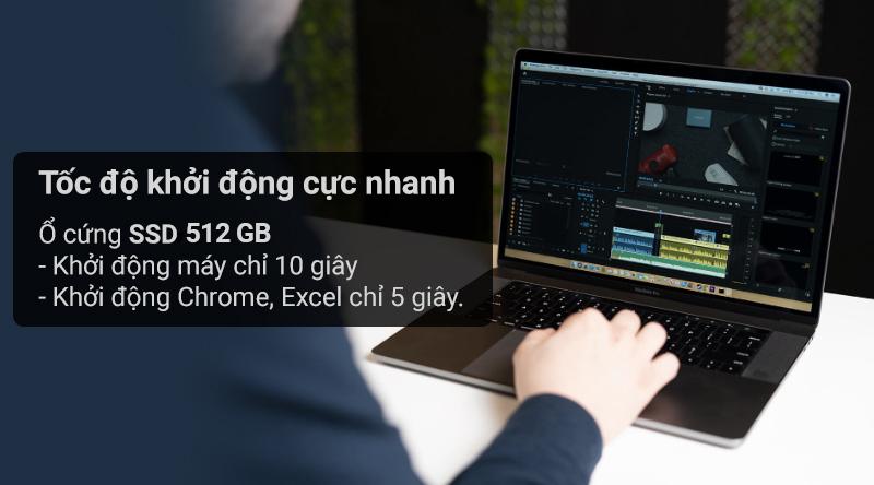 Laptop Macbook Pro Touch 2019 i9 sở hữu ổ cứng SSD tốc độ khởi động cực nhanh