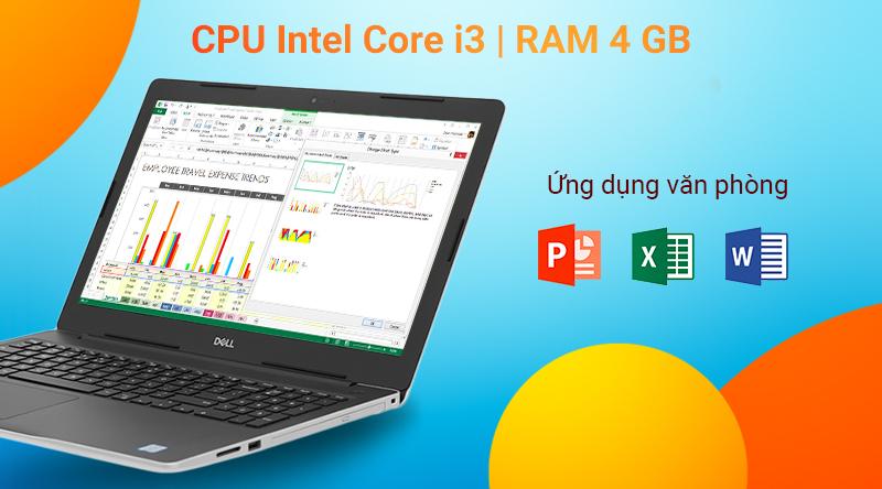 Dell Inspiron 3581 có Bộ vi xử lý Intel Core i3 thế hệ thứ 7 cùng với bộ RAM 4 GB