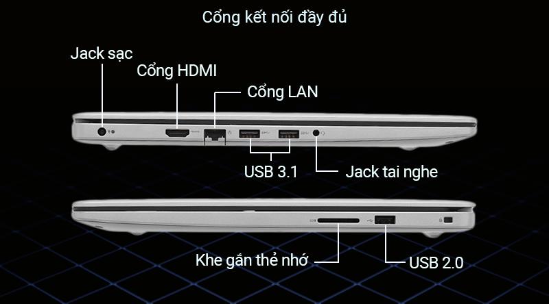 Laptop Dell Inspiron 5593 Laptop có 2 cổng USB 3.1, cổng HDMI, và cổng USB Type-C,... cho mọi kết nối dễ dàng và nhanh chóng nhất.