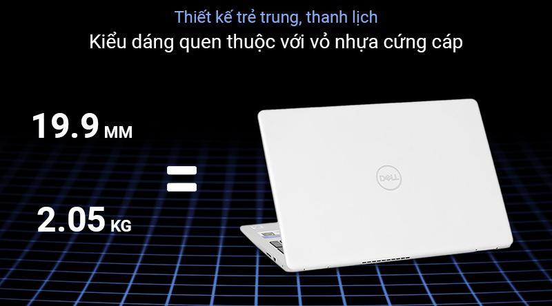 Laptop Dell Inspiron 5593 với lớp vỏ nhựa cao cấp màu bạc