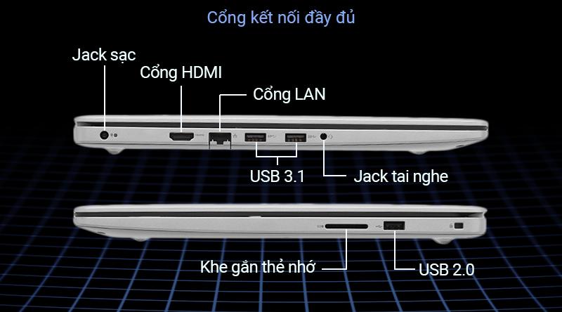 Laptop Dell Inspiron 5593 thoải mái kết nối với các thiết bị đi kèm.