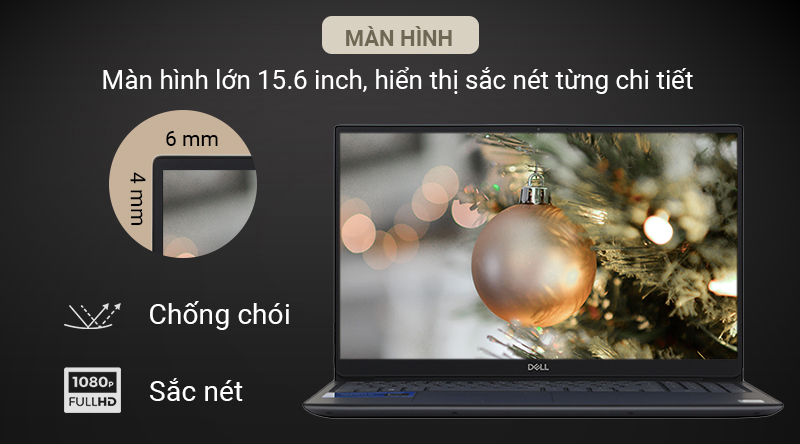 Máy tính Dell Vostro sử dụng màn hình rộng 15.6 inch cùng viền mỏng với độ phân giải Full HD