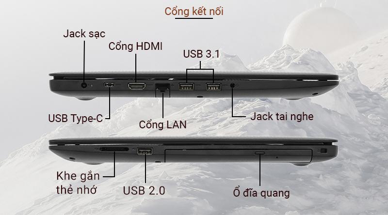 Laptop Dell Inspiron 3593  có đầy đủ các cổng thông tin cơ bản