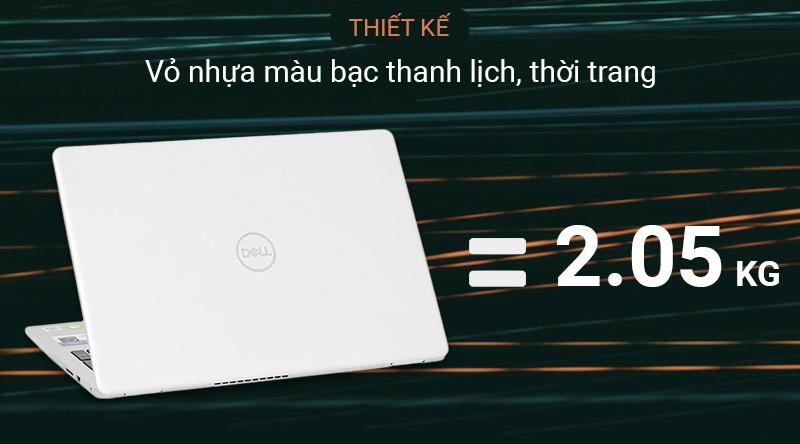 Laptop Dell Inspiron 5593 sở hữu ngoại hình với lớp vỏ nhựa màu bạc thanh lịch