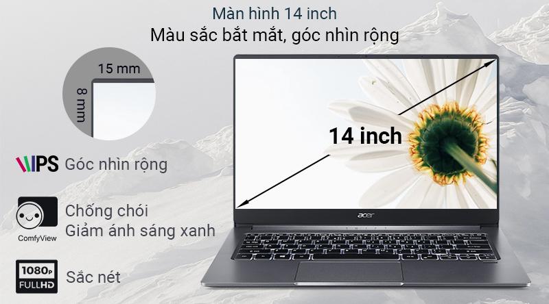 Acer Swift 3S SF314  sở hữu màn hình rộng 14 inch, độ phân giải Full HD