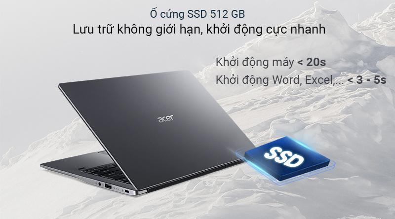 Acer Swift 3S SF314 có dung lượng lên đến 512 GB