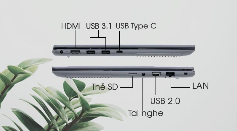Laptop Dell Vostro 5490 i5 trang bị đầy đủ các cổng kết nối