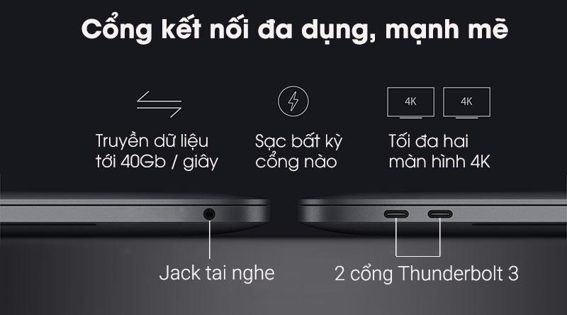 Laptop Apple Macbook Pro Touch 2019 với cổng kết nối mạnh mẽ