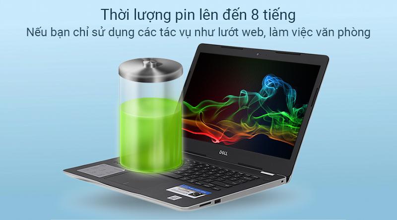 Laptop Dell Inspiron 3493 có thời lượng sử dụng thực tế khoảng 8 - 9 giờ