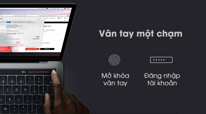Laptop Macbook Pro Touch 2019 bảo mật một chạm