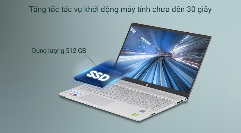 Ổ cứng SSD 512 GB mang lại tốc độ xử lí dữ liệu nhanh chóng