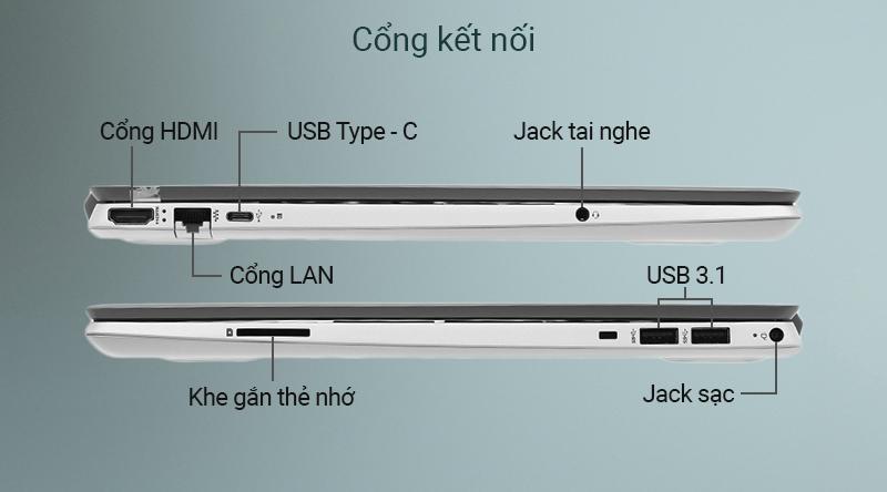 Chiếc laptop văn phòng được trang bị đầy đủ các cổng kết nối phổ biến