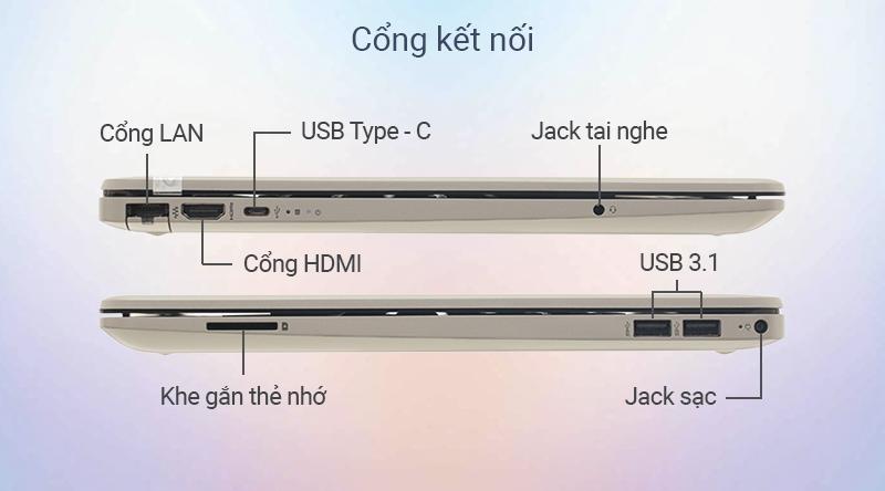 Chiếc laptop văn phòng được trang bị 2 cổng USB 3.1, HDMI và USB Type-C, ...