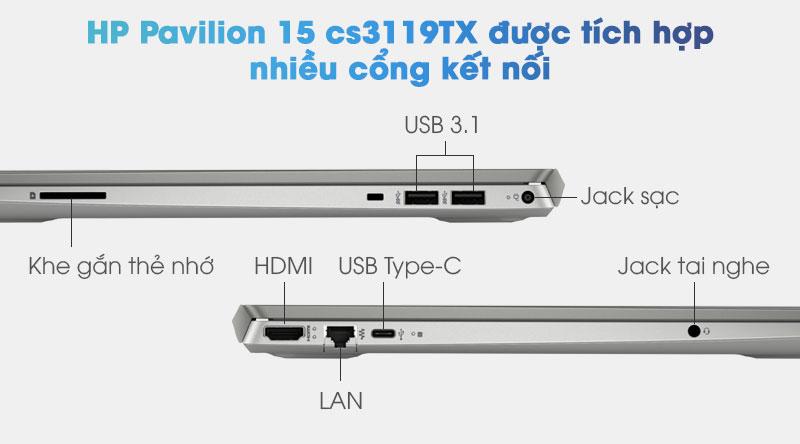 Máy có các cổng kết nối: USB 3.1, HDMI, USB Type-C