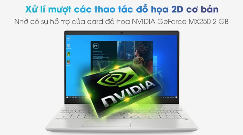 Laptop được trang bị card đồ hoạ rời NVIDIA GeForce MX250 2 GB.