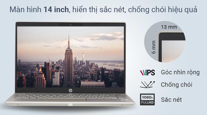 Màn hình laptop HP Pavilion 14 ce3027TU rộng 14 inch - số đo chuẩn mang lại sự cân bằng cho laptop.