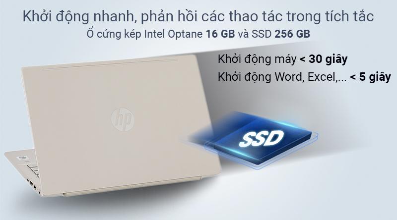 HP Pavilion sử dụng ổ cứng kép Intel Optane 16 GB và SSD 256 GB