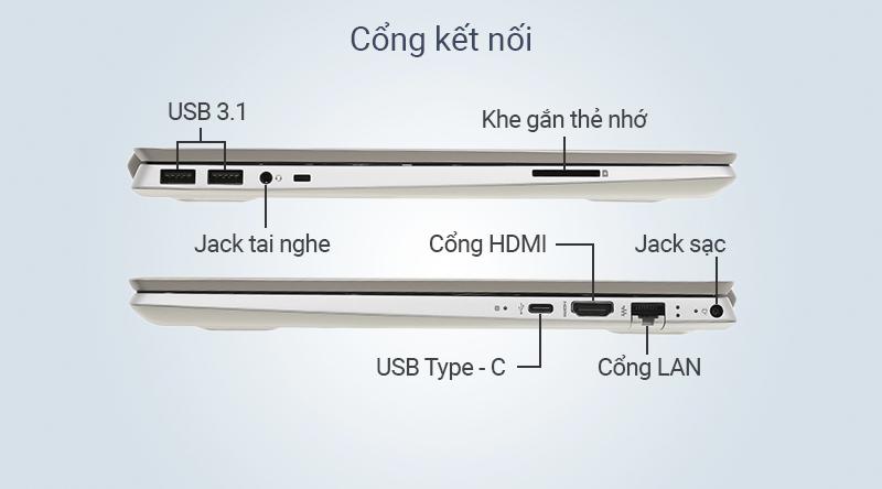 Laptop HP Pavilion 14 ce3027TU được trang bị cổng USB Type-C, cổng USB 3.1, HDMI, ...