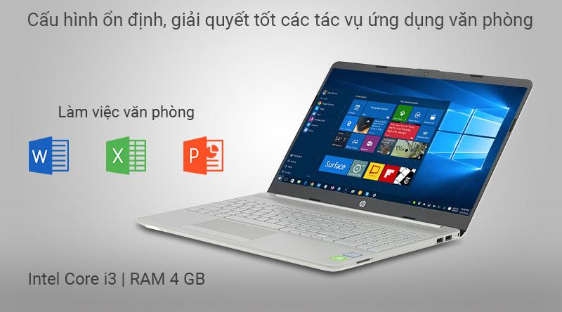 Laptop HP 15s du0072TX được trang bị bộ vi xử lý Intel Core i3