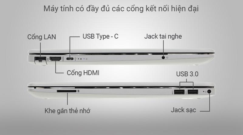 Laptop HP 15s du0072TX sở hữu những cổng kết nối phổ biến hiện nay