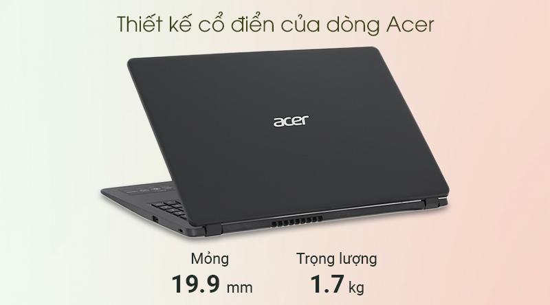 Laptop Acer Aspire A315 i5 (NX.HM2SV.002) có thiết kế mỏng nhẹ
