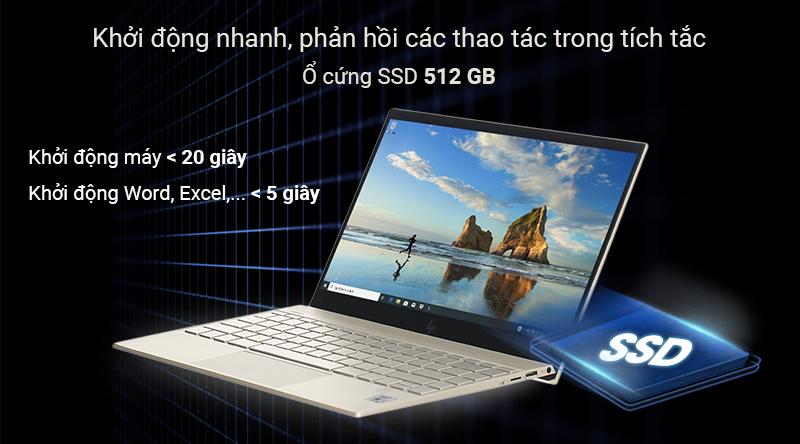 Laptop HP Envy 13 aq1022TU i5 trang bị ổ cứng SSD tốc độ khởi động cực nhanh