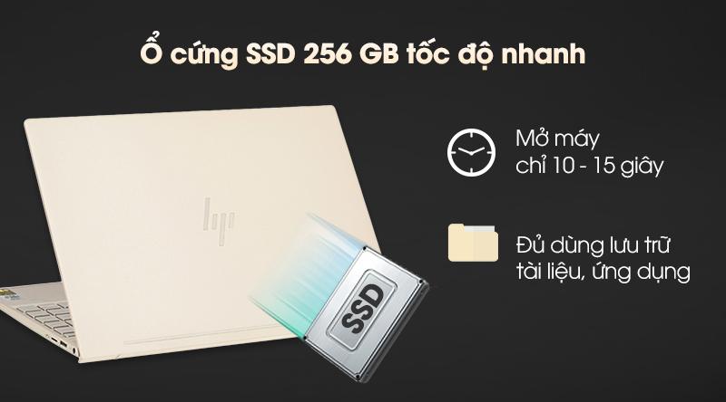 Laptop HP có tốc độ xử lí nhanh nhờ trang bị ổ cứng SSD 256 GB