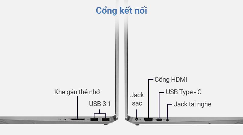 Lenovo IdeaPad S340 15IIL được trang bị các cổng kết nối hiện đại