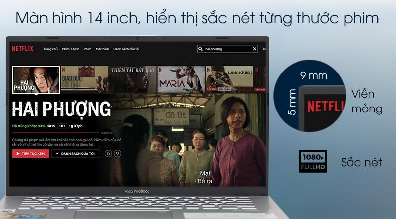 Laptop ASUS VivoBook A412FA sử dụng màn hình 14 inch