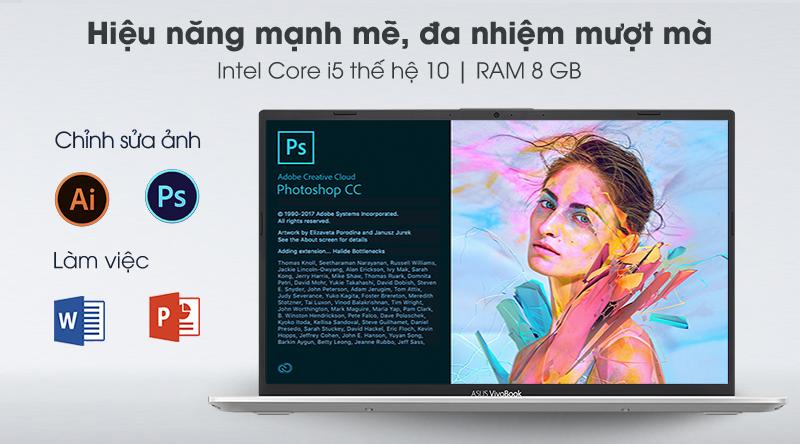 Asus VivoBook A412F được trang bị bộ vi xử lý Intel Core i5 Gen 10