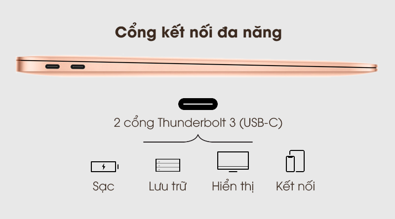 MacBook Air 2020 | 2 cổng Thunderbolt 3 (USB Type-C)