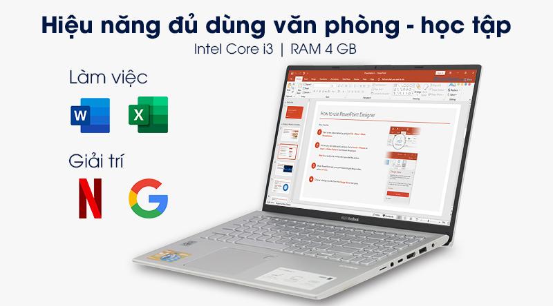 Laptop ASUS VivoBook A512FA i3 có hiệu năng đủ dùng