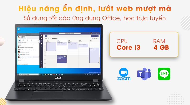 Acer Aspire A315 được trang bị bộ vi xử lý Intel Core i3