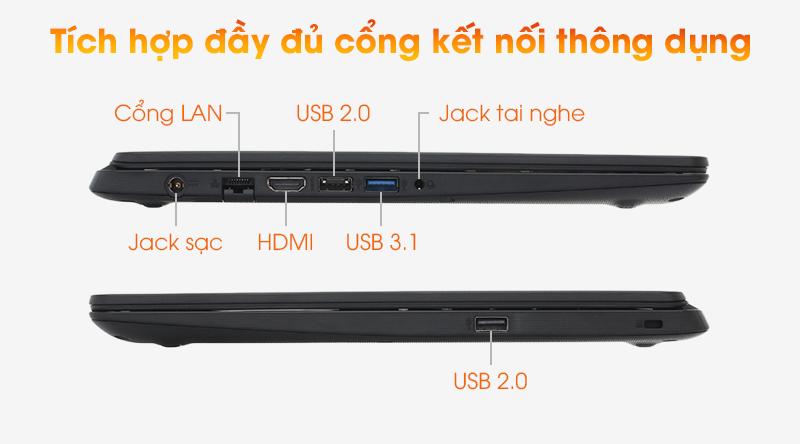 Laptop Acer Aspire A315 đầy đủ các cổng kết nối