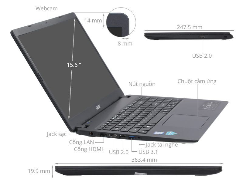 Laptop Acer Aspire 3 A315 54K 37B0 i3 8130U/4GB/256GB/Win10 (NX.HEESV.00D)