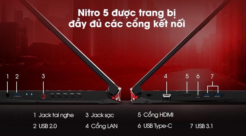 Acer Nitro AN515 với các cổng kết nối hiện đại
