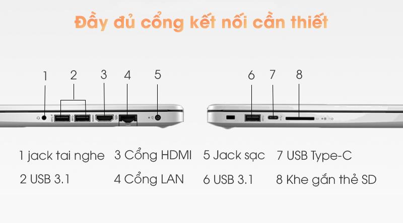 Laptop HP 348 G7 i3 (9PG83PA) đầy đủ cổng kết nối cần thiết
