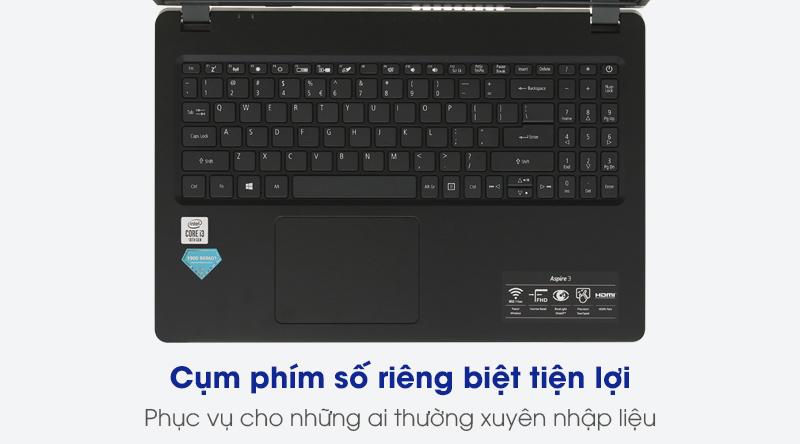 Bàn phím laptop Acer Aspire A315 56 308N i3 1005G1 (NX.HS5SV.00C) được trang bị thêm cụm bàn phím số